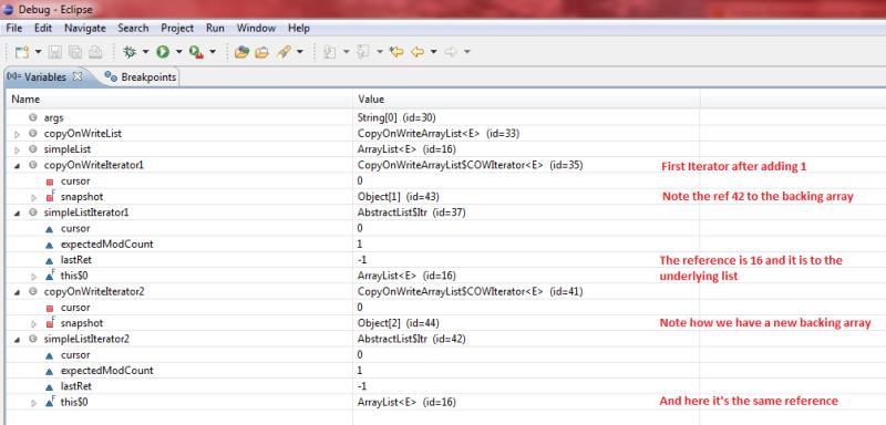 CopyOnWriteArrayList debug screen